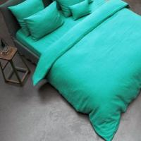Tiffany Green Turquoise Softened Linen Bedding Sheet Set Plain Sewed with Button Closer BL-031 Manufactures