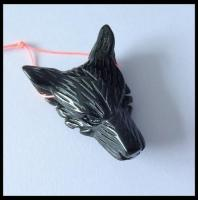 Wholesale Black Agate Gemstone Wolf Head Carved Ornament 43x30x13mm,13g from china suppliers