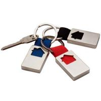 Buy cheap Cut Out Engraved Metal House Shape Keyrings with Red Blue Black Polyester HK-020 from wholesalers