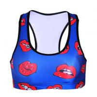 Buy cheap Fashion Sexy Padded Bra Crop Tops 3D Red Lips Sport Energy Sports Bra Runs Gymnastics Push Up Bras from wholesalers