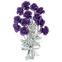 Buy cheap Bunch of 12 Purple and Crystal Rose Flower Bouquet Brooch(Code:BR2611) from wholesalers