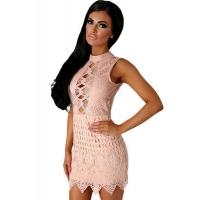 Buy cheap Club Dresses Nude Crochet Cut out Mini Dress from wholesalers