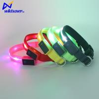 USB Rechargeable Pet Personalized LED Flashing Dog Collars with Velcro and LED Lights Manufactures