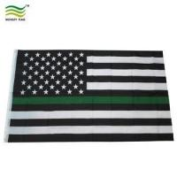 Buy cheap Canvas Header and Double Stitched Thin Green Line Flag USA product