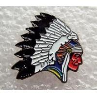 Red Indian Chief Head enamel pin / lapel badge Biker Cowboys & Indians Chieftain