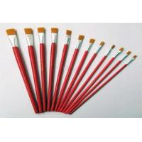Buy cheap 12pcs cheap flat nylon bristle brush set oil artist paint brush paintbrush from wholesalers