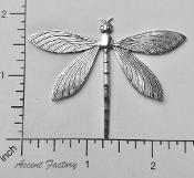 34594 - 12 Pc Large Dragonfly Jewelry Finding Matte Silver Ox
