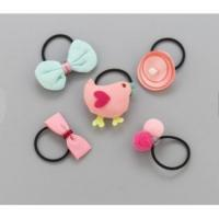 Buy cheap New Kids Cartoon Animal Flower Hair Bow Elastic Hair Band Girls Rubber Band from wholesalers