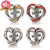 Buy cheap 5pcs/lot Crystal Heart Mom Snap On Charm Jewelry Fit Snap Button Bracelet LSSN376 from wholesalers