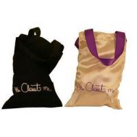 Buy cheap Closet Double face Smooth Satin Bag, Fabric Carrier Bags Printed With Ribbon Handle 18 * 23 mm from wholesalers