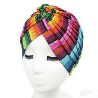 Buy cheap Color textile printing striped Indian headscarf headdress women men headpiece hat cap from wholesalers