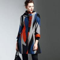 Buy cheap High-end womens wool coat winter new print argyle hooded European fashion runway from wholesalers