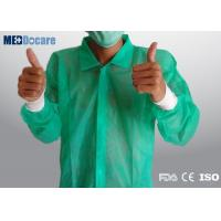 Buy cheap Green lightweight disposable lab coat manufacturers 4 velcro snaps knitted cuffs from wholesalers