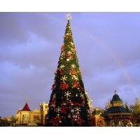 Giant christmas tree with decorations and lights