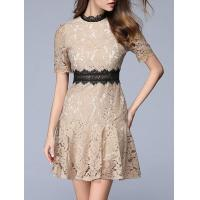 Buy cheap Dresses Color Block Contrast Crochet Ruffle Lace Dress from wholesalers