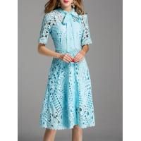 Buy cheap Dresses Tie Neck Crochet Hollow Out Dress from wholesalers