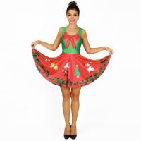 Buy cheap Christmas Wreath Digital Print Two-Way Contrast Pleated Dress Large Size Womens'wear from wholesalers