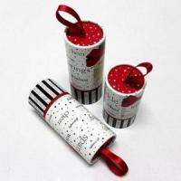 Wholesale Small long paper cylinder scarf shipping box with ribbon handle from china suppliers