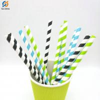 Buy cheap Bar cafe party striped paper drinking straws FDA Certificates Eco-friendly Soy Ink from wholesalers