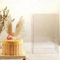 Wholesale Plastic Square Birthday Wedding Packaging Clear Cake Box Clear