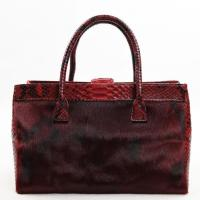 Wholesale Genuine Fur with python skin tote bag,Burgundy from china suppliers