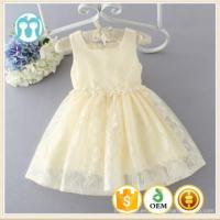 Buy cheap summer cotton lace princess dress baby girls beads belt light yellow fancy dress competition from wholesalers