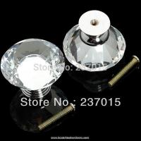 Buy cheap 10pcs new 40mm diamond crystal glass door drawer cabinet handle knob screw from wholesalers