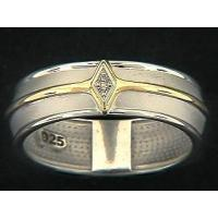 Buy cheap Gold And Silver Diamond Shaped Matt Strip Ring from wholesalers