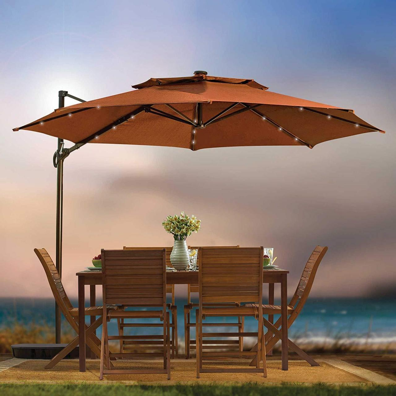 Buy cheap Spacious Outdoor Umbrella With Solar Lights At Amazon Com Patio Cantilever 11 Foot Round Canopy from wholesalers