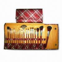 18-piece Professional Brushes in Elegant Bag with Magnetic Snap Closure, Includes Powder and Blush